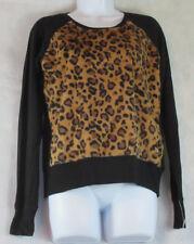 Alfani Intimates Women's Animal Print Warm Pajama Top Sleepwear, Black/Brown, XS