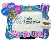 Happy Birthday Picture Frame Blue Yellow Pink Glitter Photo Frame