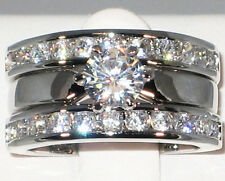 Engagement Wedding Ring Guard Set- Size 5 2.44 Ct Solitaire Cz Rhodium Ep Bridal