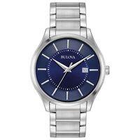Bulova Men's Quartz Dark Blue Dial Silver-Tone Stainless Steel Bracelet 96B266