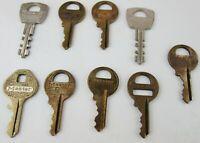 Vintage Master Lock Co. Key Lot of 9 Brass Metal Padlock Keys Mixed