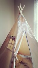 Large Kids Teepee- Children's 5 PoleTent- Easy Assembly- With Dream catcher