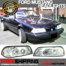 Fits 87 93 Ford Mustang Chrome Housing Halo Projector Headlights Led Pair Fits Mustang