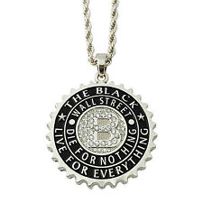 "Mens Silver Iced CZ Bling Black Wall Street Large Pendant Necklace 4mm 30"" Rope"
