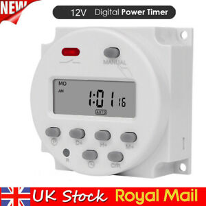 12V LCD Digital Clock Programmable Control Power Timer Switch Relay