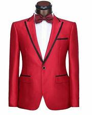 Hombre Rojo Traje Elegante un Botón Diseñador Novio Boda Cena Abrigo +