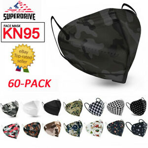 60 PCS KN95 Face Mask 5 Layer Anti-Dust Protective Mouth & Nose Cover USA Seller