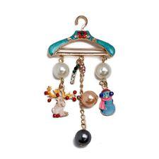 Hanger cane snowman enamel diamond brooch elk Crystal hanger