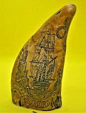Whale's tooth, with Scrimshaw>> Tooth is made of Epoxy resin>>  >Awesome>>