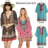 Women Summer Bohemian Geometric Chiffon V-Neck Print Loose Vintage Mini Dress AU