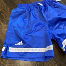 NOS Liga SOCCER SHORTS Shiny Glanz Nylon Wet Look Blue VTG 80s NEW Mens SMALL