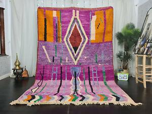 "Moroccan Boujad Handmade Carpet 6'4""x9'5"" Berber Abstract Purple Oange Wool Rug"