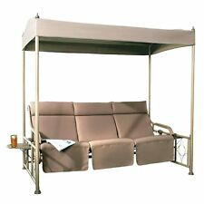 3 Person Outdoor Patio Gazebo Swing Glider with Steel Frame and Teapoy, Tan
