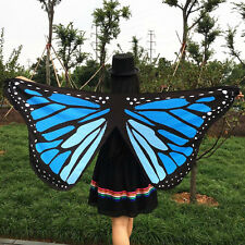 Soft Fabric Butterfly Wings Fairy Ladies Nymph Pixie Costume Accessory Blue Gift