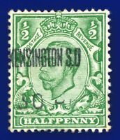 1912 SG344 ½d Green (Die-2, wmk SC) N5(1) Good Used Kensington Sq. antl