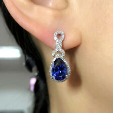 Natural Diamond Blue Tanzanite Women Drop Earrings Solid 18K White Gold Jewelry