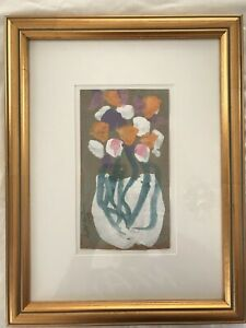 SYBIL GIBSON PAINTING, FLOWERS IN VASE PAINTED ON CARDBOARD, MATTED & FRAMED