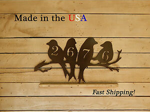 Birds on a Limb 4 Number Address Plaque, Love Bird Decor - HN1093