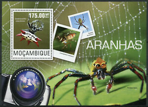 Mozambique Spiders Stamps 2014 MNH Orb Weaver Spider Insects Fauna 1v S/S