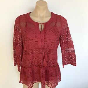 NEW TOP Size S Berry lace Peplum style Cami Tie front 3/4 sleeve Women's