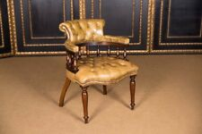 Original Antique English Chesterfield Leather Armchair 1890