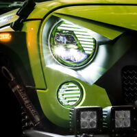 Extrame Skull GREEN LED Headlight+LED Turn Signal+DRL fit 07-18 Jeep JK Wrangler