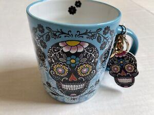 DAY OF THE DEAD SUGAR SKULL Coffee Tea Mug Cup Prima Design With Keychain Charm