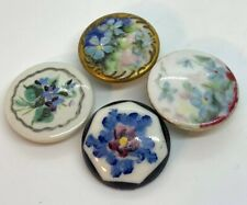 ANTIQUE HAND PAINTED FLORAL LARGE BUTTON LOT OF FOUR 32-36mm BUTTONS VICTORIAN