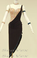 Women Ballroom Latin Salsa Rumba Samba Dance Dress US 4 UK 6 Flesh Black Color