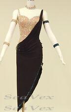 Women Ballroom Latin Salsa Rumba Samba Dance Dress US 4 UK 6 Flesh Black Color