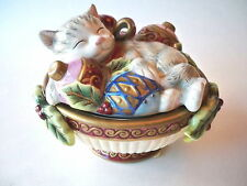 FITZ AND FLOYD Kristmas Kitty Lidded Box Hand Crafted CHRISTMAS CAT