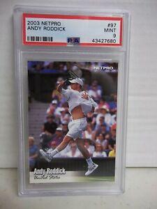 2003 Netpro Andy Roddick Rookie PSA Mint 9 Tennis Card #97 ATP SP Pop 8