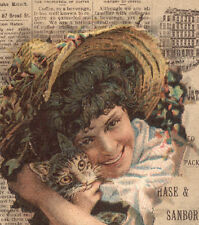 CHASE & SANBORN COFFEE TRADE CARD, STANDARD JAVA RECORD, LADY & CAT & BOX TC1125