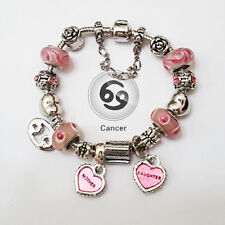 CANCER Zodiac Silver Pink Murano Mother & Daughter Heart Charm Bracelet
