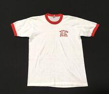 1980s Ringer T Shirt Tennis Tee White Red Cotton Blend L Pullover Jostens Vtg