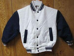 Youth Baseball Jacket Fruit of loom Size Small 6-8 Gray body Navy Sleeve Vintage