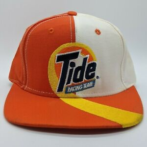 vtg TIDE Racing Team NASCAR Embroidered Logo Hat Snapback Cap Orange White NEW