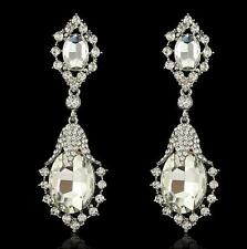 "3.5"" Clear Crystal Pageant White Silver Long Bridal Prom Post Earrings Gift"