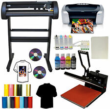 "15x15"" Heat Press,500g Metal Vinyl Cutter Plotter,Printer+CISS+Ink Tshirt Bundle"