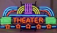 "22""x14""Theater Neon Sign Light Room Wall Hanging Decor Handmade Real Glass Tube"