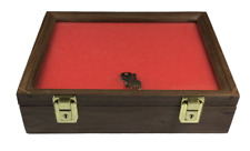 Walnut Wood Display Case 9 x 12 x 3 for Arrowheads Knifes Collectibles & More