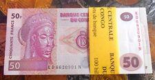 100 Notes Serial Packet ( Bundle ) - CONGO 50 Francs - GEM UNC & MINT