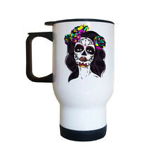 Catrina Sugar Skull TRAVEL Mug | Candy Skull | Gothic | Cool | Coffee Mugs
