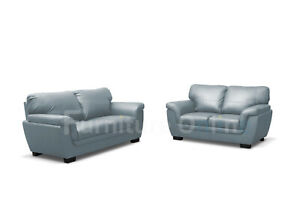 CANDY FAUX LEATHER SOFA SET 3+3 GREY WAREHOUSE CLEARANCE