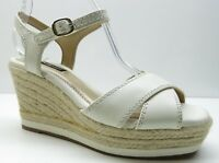 Alex Marie Cream Leather Ankle Strap Espadrille Wedge Sandal Pumps Heels 6.5
