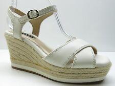 Alex Marie Cream Leather Ankle Strap Espadrille Wedge Sandal Pumps Heels 6.5 $89