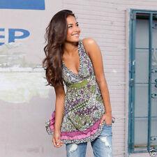 Geblümte figurbetonte Ärmellose Damenblusen, - tops & -shirts mit V-Ausschnitt