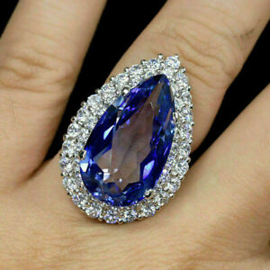 4 Ct Pear Cut Tanzanite & Diamond Solitaire Engagement Ring 18k White Gold Over
