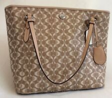 COACH Signature Peyton Light Khaki/Tan Coated Canvas Zip Tote F27350 NWT $328.00