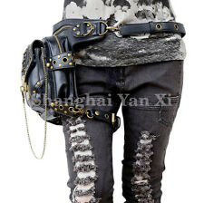 Men Women Rock Leather Retro Vintage Gothic Steam-Punk Shoulder Chain Waist Bag